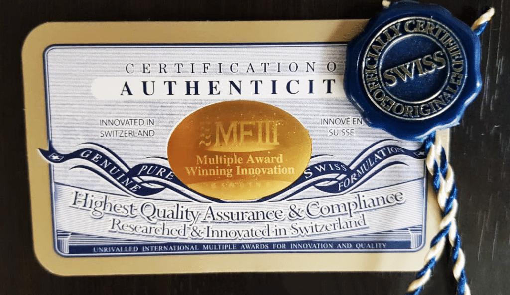 Certificado de autenticidad Cápsulas de Células Madre MFIII
